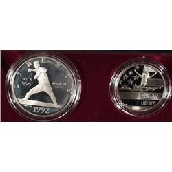 1992 OLYMPIC 2-COIN PROOF COMMEM SET IN ORIG BOX/COA  SILVER DOLLAR & CLAD HALF