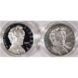 2009 ABRAHAM LINCOLN PROOF & UNC COMMEMORATIVE SILVER DOLLARS IN ORIG PACKAGING