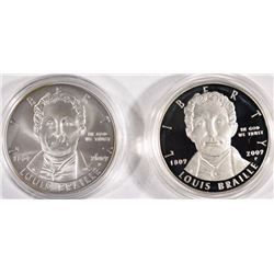 2009 LOUIS BRAILLE PROOF & UNC COMMEMORATIVE SILVER DOLLARS IN ORIG PACKAGING