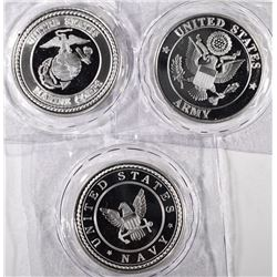 ARMY, NAVY & MARINES ONE OUNCE .999 SILVER ROUNDS SEALED IN PLASTIC