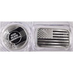 U.S. FLAG INGOT & GOD BLESS AMERICA ROUND: ONE OUNCE .999 SILVER EACH