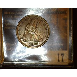 17.    1875 P U.S. Twenty Cent Piece, Full original toned EF. Only 38,500 ever minted. Red Book valu