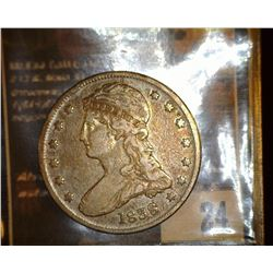 24.    1838 Reed Edge Capped Bust Half Dollar, EF.