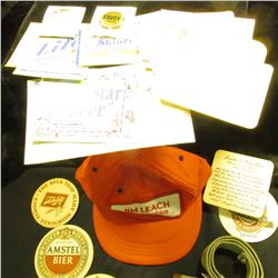 "34.    ""Jim Leach Congress"" Baseball style cap; section of a web belt with brass; & a group of Brewe"