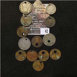 42.    Group of Old United States Coins dating back to the 1850s, probably holed by Trappers and hun