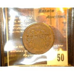 "50.    1864 U.S. Two Cent Piece countermarked ""C.H. Pelton"" countermarked on the obverse, whom was a"