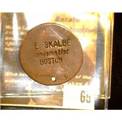 "65.    1775 Great Britain Half Penny Copper Coin Counter marked ""J.E.Skalbe/Numismatist/Boston"", Gre"