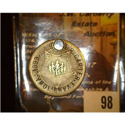 "98.    Super Rare one of a kind ""G.A.R."" countermarked medal ""J.R. CARTER, EVANS, IOWA.1893."" holed,"