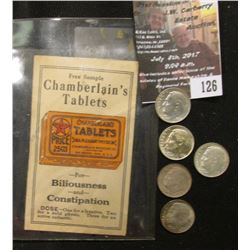 "126.""Free Sample Chamberlain's Tablets for Biliousness and Constipation…"" ; & a group of (5) Origina"