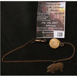 "128.""Bowle's Livestock Commission Co. Chicago, Kansas City"" Hog designed Pendant on a Watch Chain wi"