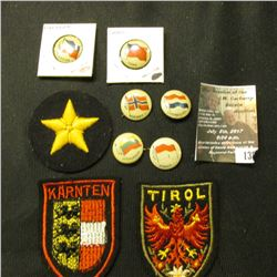 "138.(6) Different Country Flag pin-backs; embroidered Star patch; & embroidered patches from ""Tirol"""