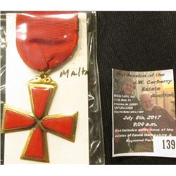 139.Red Military Cross Badge with Ribbon from Malta. 'Doc' had this valued at $90.00.