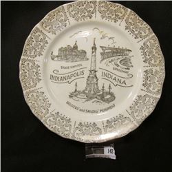 "142.""Warranted 22K (Gold)"" Souvenir Plate ""State Capitol Speedway Soldiers' and Sailors' Monument In"