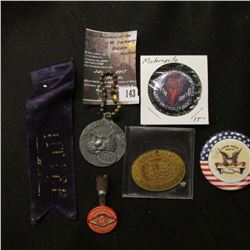 "143.""Central States Numismatic Society"", oval, brass medal; key-ring ""Put a Tiger in Your Tank Esso"""