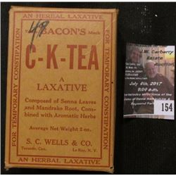 "154.Quack Doctor Medicine Box, unopened and original ""Bacon's C-K-Tea A Laxative Composed of Senna L"