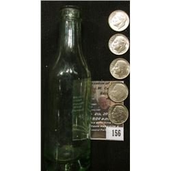 "156.Light green Depression glass miniature soda bottle. 4.75""  x 1.25""; & (5) 1952 D Original BU, li"