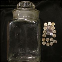 157.Old Apothecary Clear Glass Jar, lid appears to be really tight; & (16) 1952 D Original BU, light