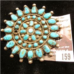 159.Zuni Sterling Silver and Turquoise Broach. Missing one small set. Very attractive and quite old.