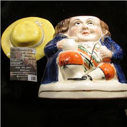 "165.Pudgey 'Little George Washington' lidded Ceramic decanter, 5"" x 3.5""."