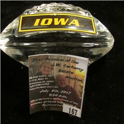 "167.Heavy Lead Glass Crystal University of ""IOWA"" Football paper weight. 2.25"" x 4""."