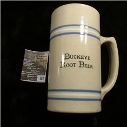 "181.5.5"" x 3"" Stoneware advertising mug ""Buckeye Root Beer""."