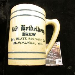"184.4.5"" x 3.25"" Stoneware advertising mug ""Old heideberg Brew Yal. Blatz Brewing Co. Milwaukee, Wis"