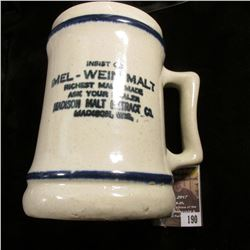 "190.5.25"" Stoneware Advertising Mug for ""Insist on Mel-Wein Malt Richest Malt Made Ask Your Dealer M"