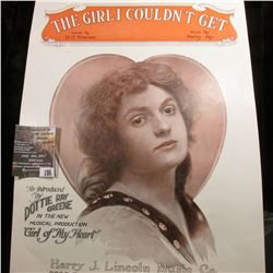 "195.Original 1920 Sheet Music ""The Girl I Couldn't Get""."