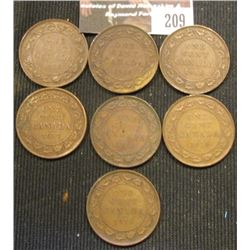 209.Lot of Canada Large Cents: 1911, 1912, 1913, & (4) 1918 grading VG-VF.