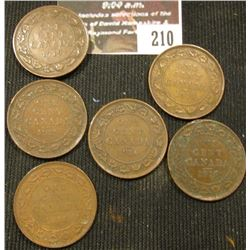 210.Lot of Canada Large Cents: 1912, 1916, 1918, & (3) 1919 grading VG-VF.