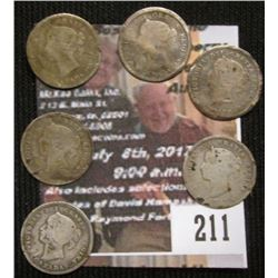 211.Lot low grade/cull Canada Five Cent Silvers: 1870, 1871, 1900, 1901, and (2) no date.