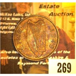 269.1949 Ireland Half Penny, Red-brown AU.