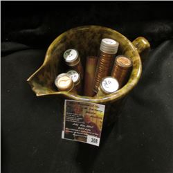 308.Handled Stoneware Pitcher with broken Spout & (10) Rolls of Brilliant Uncirculated Lincoln Cents