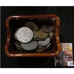 "310.""REGO E699-29"" Stoneware Compote containing a large group of unsorted Foreign Coins and tokens."