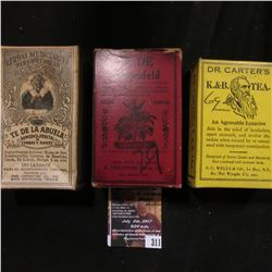 311.(3) Different Old Time Remedy Quack Doctor boxes with original contents from LeRoy, Ny., San Ant