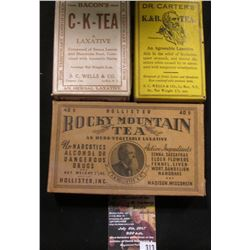 313.(3) Different Old Time Remedy Quack Doctor boxes with original contents from LeRoy, Ny. & Madiso