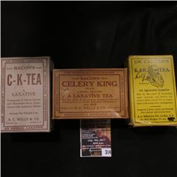 314.(3) Different Old Time Remedy Quack Doctor boxes with original contents from LeRoy, Ny.