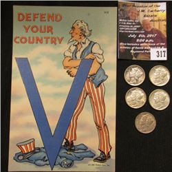 "317.1941 Tichnor Bros. Inc. Post Card ""Defend Your Country"" and (5) Original Toned Uncirculated Merc"