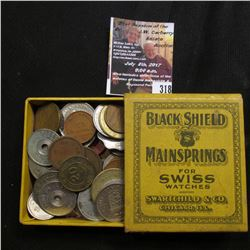 "318.Original Antique Box ""Black Shield Mainsprings for Swiss Watches Swartchild & Co. Chicago, Ill."""