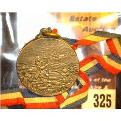 "325.""1492-1911"", ""Columbus Day/City of New York October, 12, 1911"", Pewter medal with ribbon."