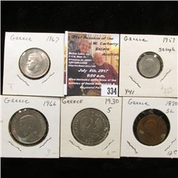 334.(5) Different Greece Coins dating back to 1870.