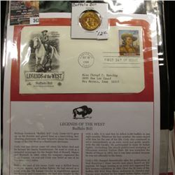"343.""Buffalo Bill"" Medal and 1994 First Day of Issue Stamped and postmarked Cover."