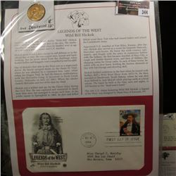 "344.""Wild Bill Hickok"" Medal and 1994 First Day of Issue Stamped and postmarked Cover."