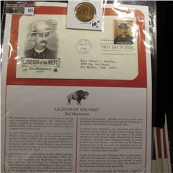"345.""Bat Masterson"" Medal and 1994 First Day of Issue Stamped and postmarked Cover."