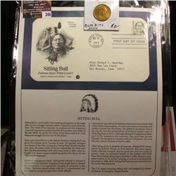 "346.""Sitting Bull"" Medal and 1989 First Day of Issue Stamped and postmarked Cover."