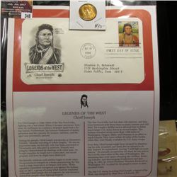 "348.""Chief Joseph"" Medal and 1994 First Day of Issue Stamped and postmarked Cover."