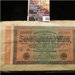 355.1923 German 20,000 Mark Reichsbanknote & a Great Britain One Pound Bank Note.