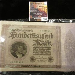 356.Series 1923 German Reichsbanknote 100,000 Mark. VF.
