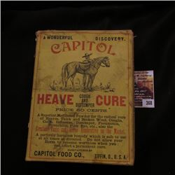 "368.""A Wonderful Discovery Capitol Heave Cough and Distemper Cure…Capitol Food Co., Tiffin, O., U.S."