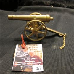 "372.Brass Civil War Style Cannon 5 1/8"" in length. Working wheels and pivots."